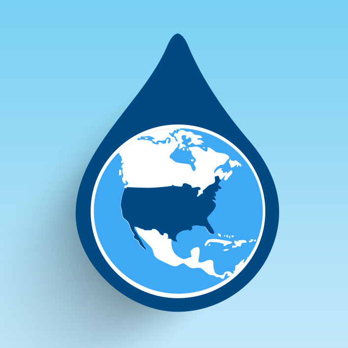 usa in water drop graphic