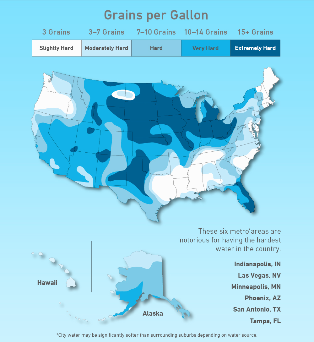 A Map Of Hard Water Across The US - Las vegas in usa map