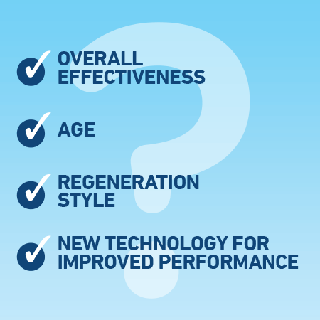 "Graphic with a checklist of items saying ""overall effectiveness, age, regeneration style, new technology for improved performance"""