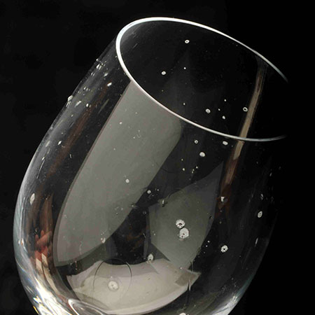 Hard water scale on a wine glass