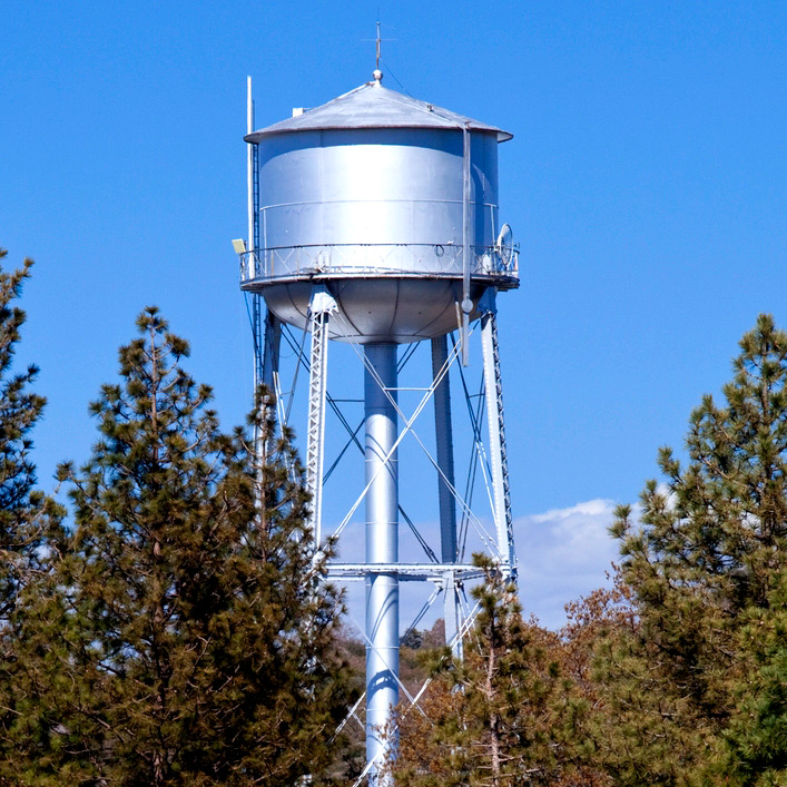 A metal water tower surrounded by pine trees